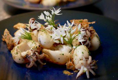 gebratener Baby Calamari mit Bärlauchblüten